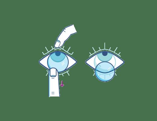 Quitate los lentes de contacto utilizando tu dedo indice en el borde inferior de la lente